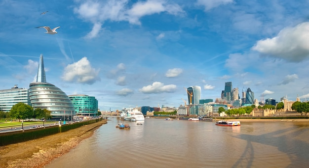 London, südufer der themse an einem hellen tag, panoramabild