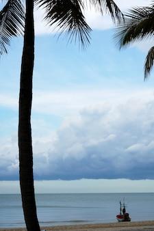 Longtail-boot am strand mit kokospalmenmeer und nimbuswolken am himmel