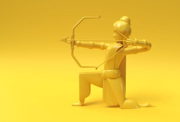Lord rama arrow mit bogen navratri festival of india poster, 3d render illustration design.