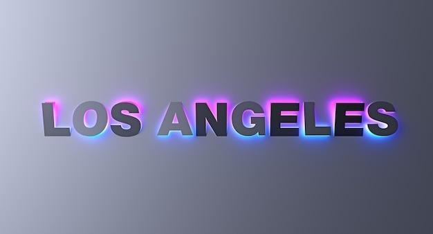 Los angeles design typografie schriftzug mit neon leuchtenden verlaufslichtern. 3d-illustration.