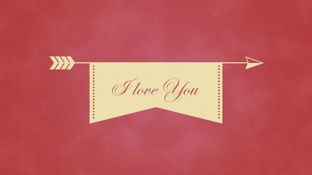 Ð¡loseup ich liebe dich text und bewegung herz mit pfeil auf valentinstag hintergrund. luxuriöse und elegante 3d-darstellung im dynamischen stil für den urlaub