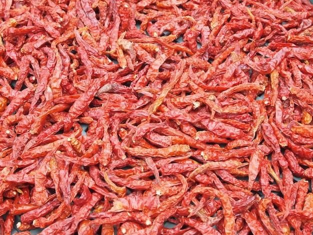 Lot getrockneter paprika als lebensmittelhintergrund