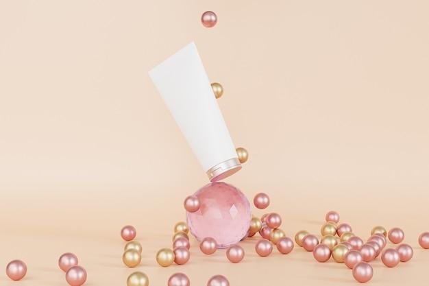 Lotionsröhre für kosmetikprodukte, die auf glaskugel balancieren, 3d-illustrationsrender