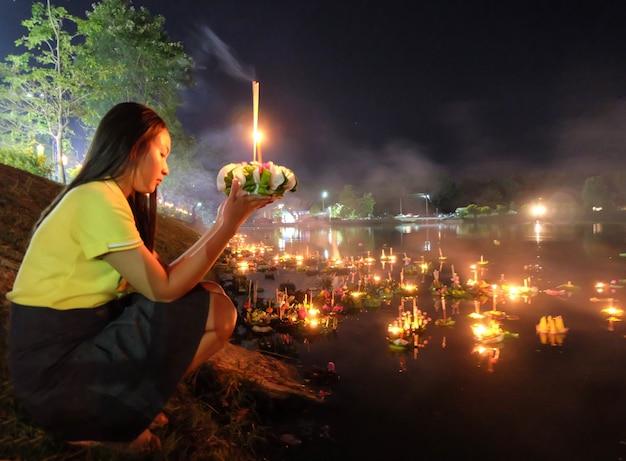 Loy krathong festival in chiangmai, thailand