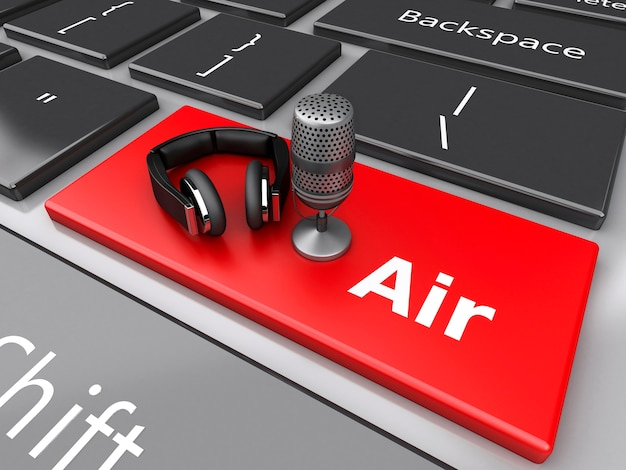 Luft des wortes 3d mit einem mikrofon und kopfhörern auf computertastatur.