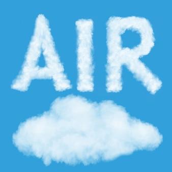 Luft natürliches wolkenwort auf dem blauen himmel.