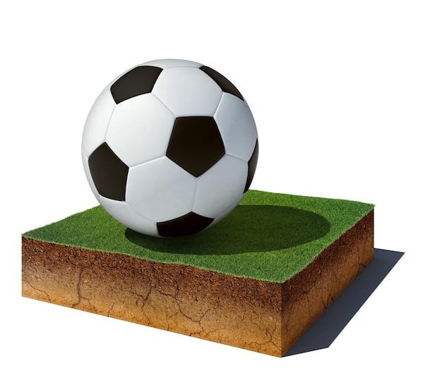 Luftansicht-schmutzwürfel mit fußball