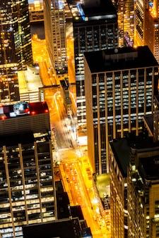 Luftaufnahme der chicago-skyline-nacht
