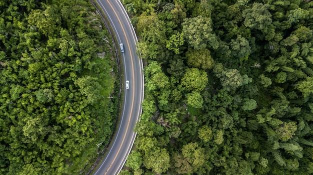 Luftaufnahme der forststraße, luftaufnahme einer landstraße