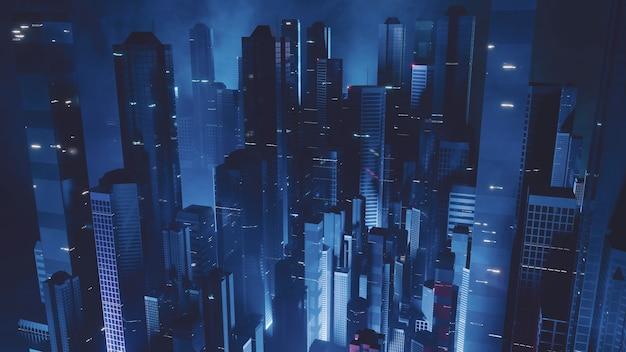Luftaufnahme der großstadt bei nacht