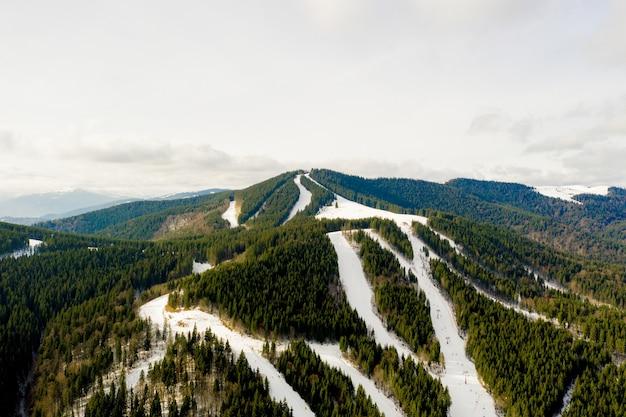 Luftaufnahme der landschaft von ski- und snowboardhängen durch kiefern