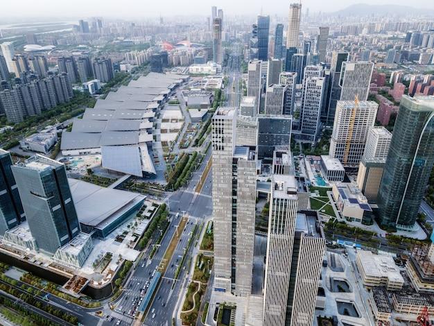 Luftaufnahme der modernen städtischen architekturlandschaft von nanjing, china