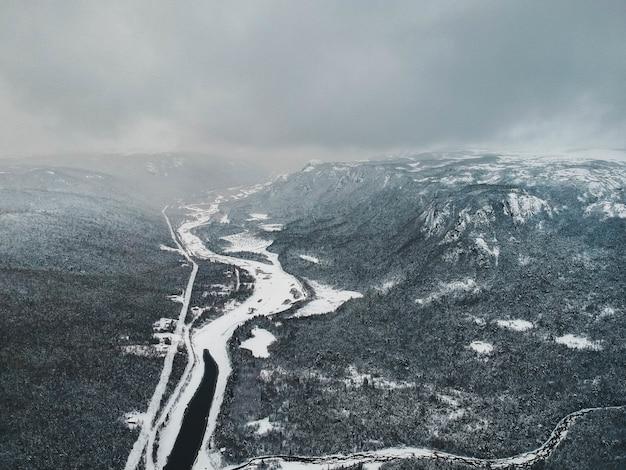 Luftaufnahme der natur im winter
