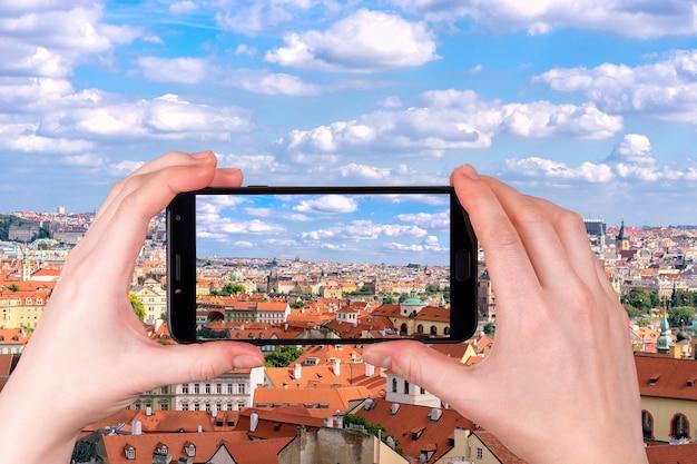 Luftaufnahme der prager stadt tschechische republik