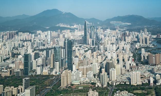 Luftaufnahme der skyline der shenzhener architekturlandschaft