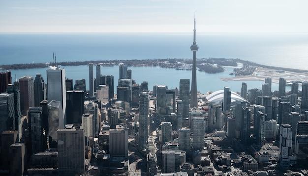 Luftaufnahme der skyline der stadt toronto, kanada