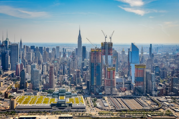 Luftaufnahme der skyline des finanzviertels von manhattan, nyc.