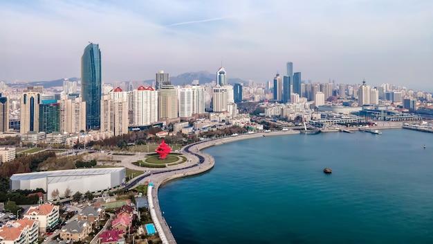 Luftaufnahme der stadt shandong qingdao