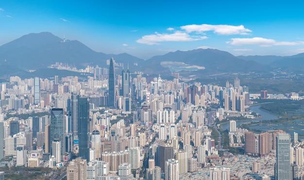 Luftaufnahme der stadtlandschaft von shenzhen