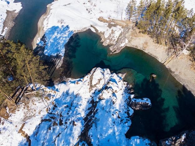 Luftaufnahme der winterblauseen