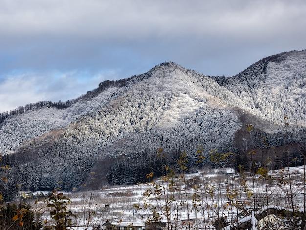 Luftaufnahme des berges. kosha, präfektur nagano, japan