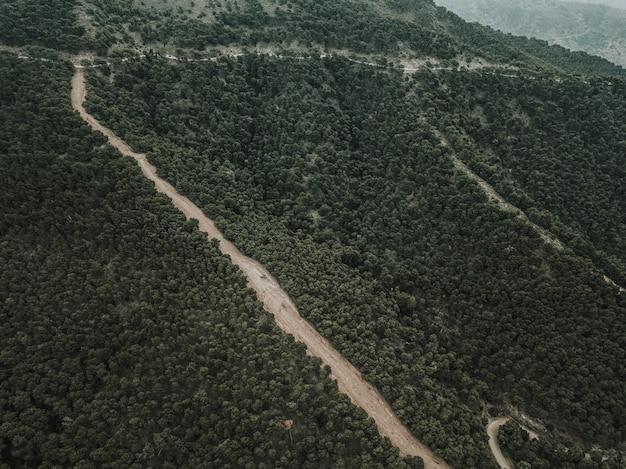Luftaufnahme des geraden schotterwegs in der waldlandschaft