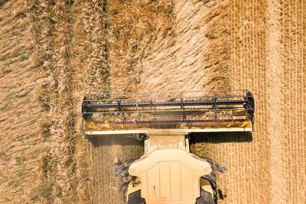 Luftaufnahme des mähdreschers, der ein großes reifes weizenfeld erntet. landwirtschaft aus drohnensicht.