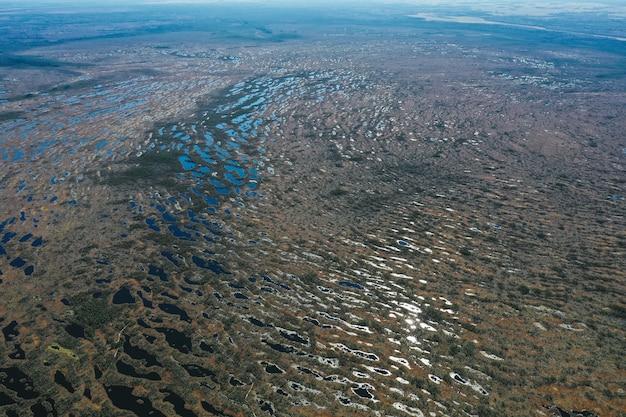 Luftaufnahme des seegebietes mit vegetation