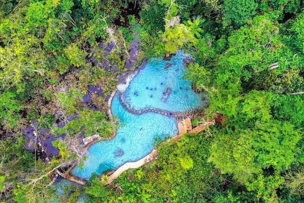 Luftaufnahme des wasserscheidewaldes ban nam rad in surat thani, thailand.
