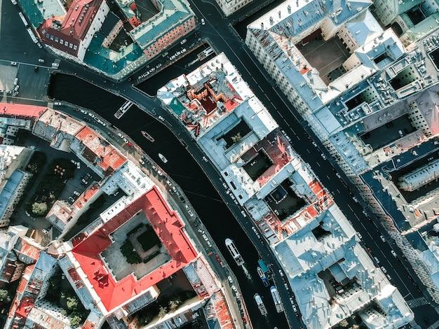 Luftaufnahme des zentrums von sankt petersburg,