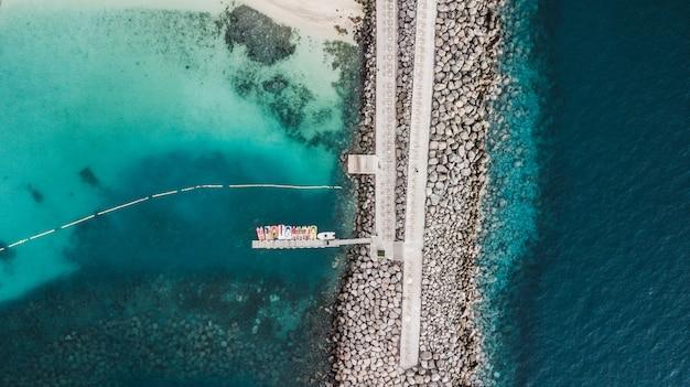 Luftaufnahme über amadores strand auf gran canaria, spanien