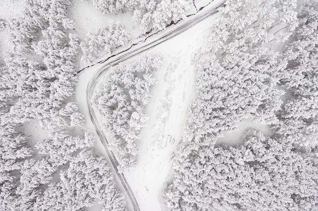 Luftaufnahme über die straße und den wald zur winterzeit. schneebedeckter wald, natürliche winterlandschaft.