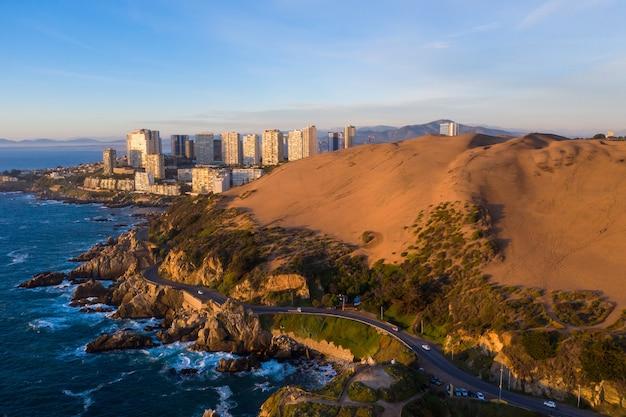 Luftaufnahme von concon dunes, chile