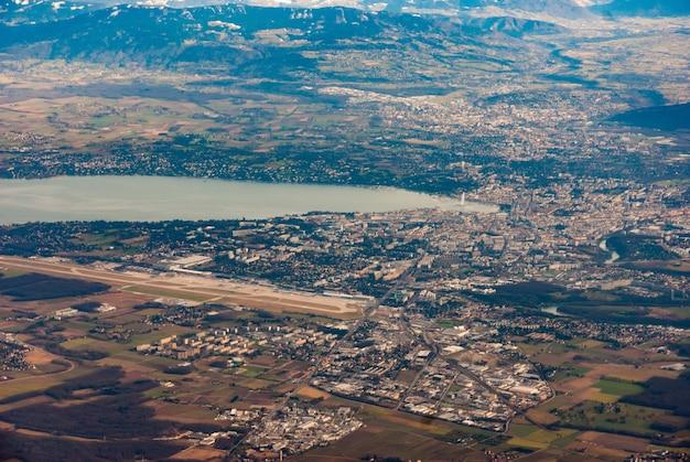 Luftaufnahme von genf, schweiz