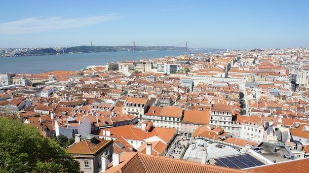 Luftaufnahme von lissabon blick auf alfama lissabon portugal