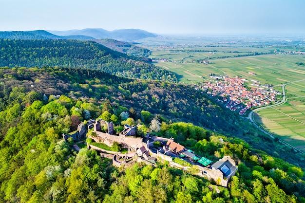 Luftaufnahme von schloss madenburg im pfälzer wald. touristenattraktion im bundesland rheinland-pfalz