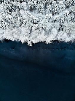 Luftaufnahme von schneebedeckten bäumen