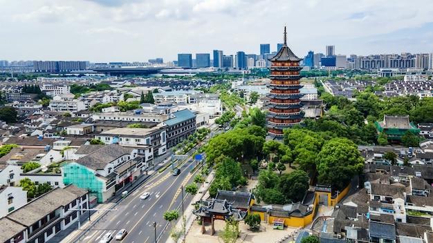 Luftaufnahmen der altstadt von suzhou