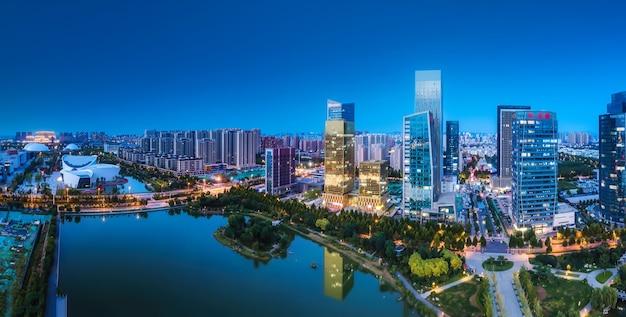 Luftaufnahmen der modernen urbanen architekturlandschaft in zibo, china