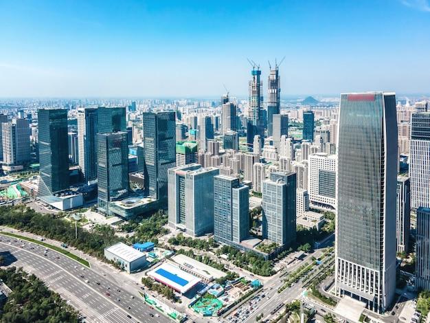 Luftaufnahmen der modernen urbanen architekturlandschaft von jinan, china