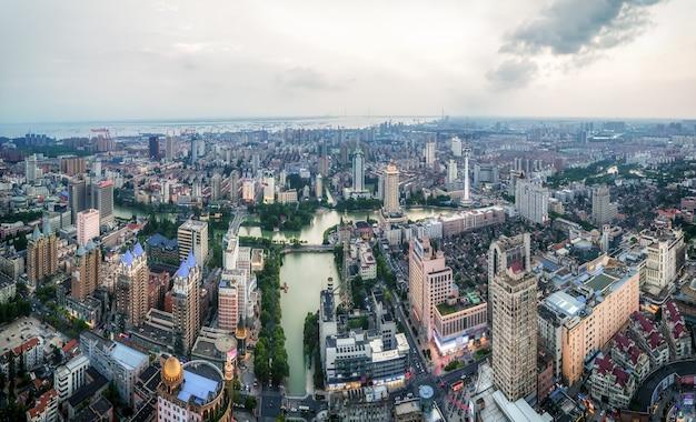 Luftaufnahmen der stadtlandschaft von nantong, jiangsu
