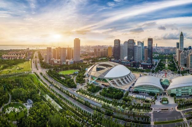 Luftaufnahmen des finanzzentrums nantong, jiangsu
