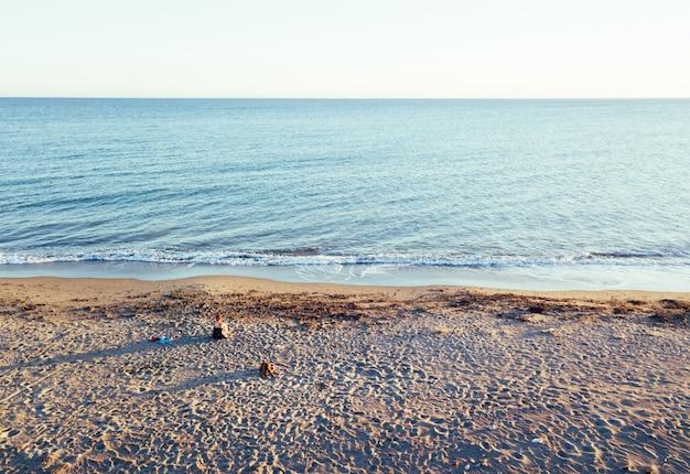 Luftaufnahmen eines mädchens mit ihrem hund an einem unberührten strand, im naturpark punta entinas, almeria, spanien