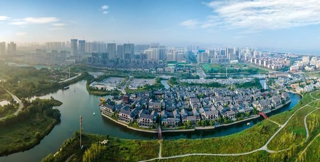 Luftaufnahmen von dongyi town, rizhao, china