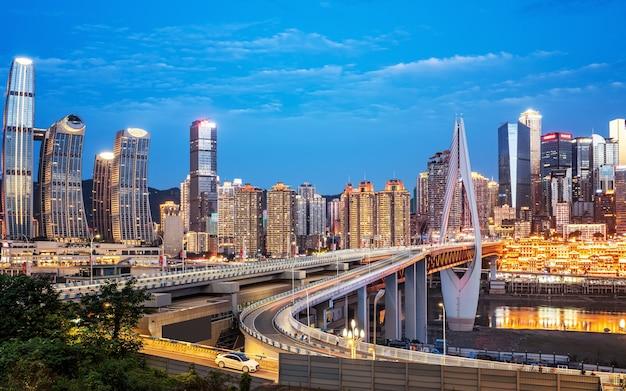 Luftaufnahmen von sichuan und chongqing bei nachtansicht