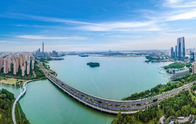Luftaufnahmen von suzhou stadtarchitektur landschaft skyline panorama