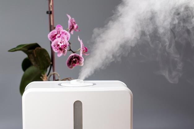 Luftbefeuchter im haus. feuchtigkeitsspendend. dampf. platz für text
