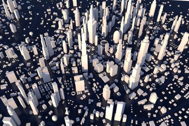 Luftbild 3d rendering weiße stadt