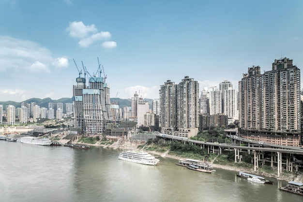 Luftbild bergstadt chongqing