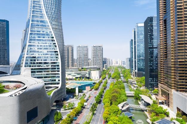 Luftbild cbd zentrum von qianjiang new city, hangzhou